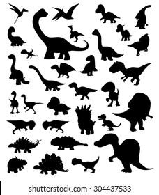 Dinosaur Cartoon Silhouettes Vector