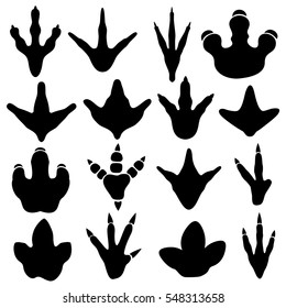 Dinosaur claw footprint silhouettes vector set