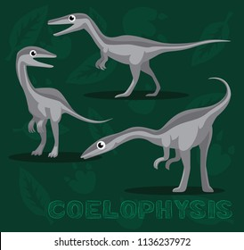 Dinosaur Coelophysis Cartoon Vector Illustration