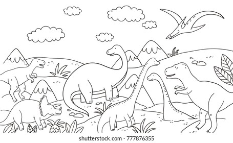 Dinosaur Coloring Page Images, Stock Photos & Vectors ...