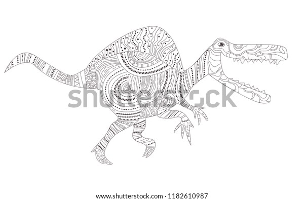 Free art print of Zentangle hadrosaur dinosaur. Coloring page of ... | 397x600