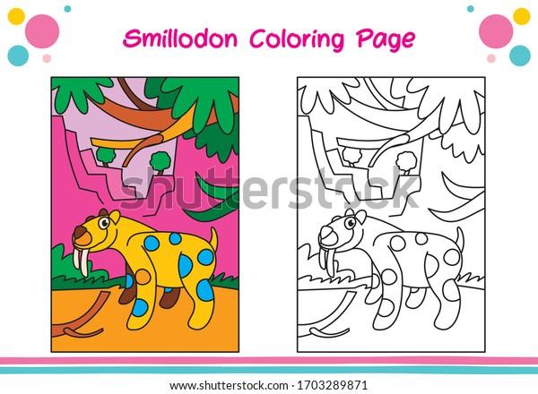 Dinosaur Coloring Sheets Kids Coloring Smilodon Stock Vector (Royalty Free)  1703289871