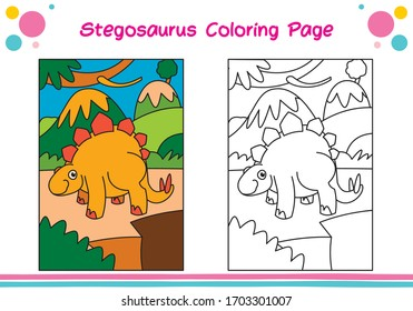 Dinosaur coloring sheets for kids - coloring stegosaurus with cartoon characters