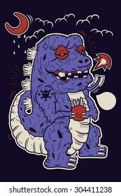 Dinosaur crazy at night, street art illustration design.