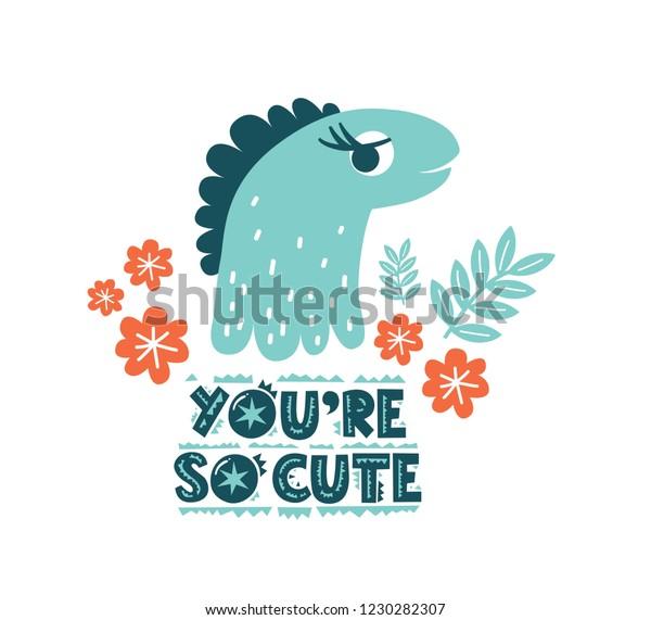 Dinosaur Cute Baby Girl Vector Illustration Stock Vector