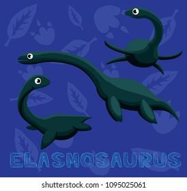 Dinosaur Elasmosaurus Cartoon Vector Illustration