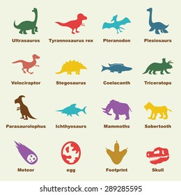 dinosaur elements, vector infographic icons