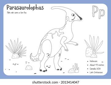 Dinosaur Fact Flash Cards - Dinosaur Names Corresponding to the English Alphabet. Cute colorful vector illustration. Herbivore set. Dinosaur vegan. Set cards a-z dinosaur P. Parasaurolophus