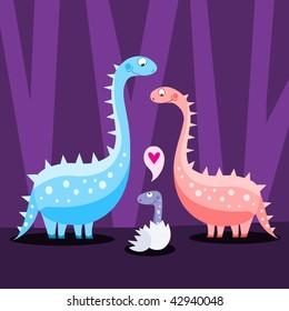 Dinosaur family - vector
