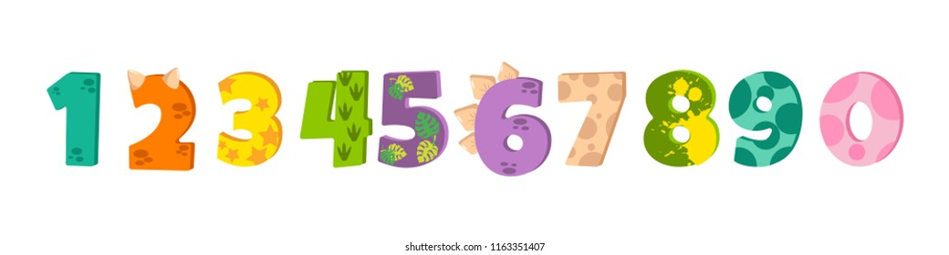 Dinosaur figures for designing birthday or dino party invitation, greeting card, sticker, banner, logo, icon, poster. Bright cute numbers from 0 to 9 designed like baby dinosaurs