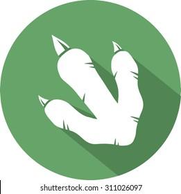 Dinosaur Footprint Circle Flat Design Icon. Vector Illustration Isolated On White Background