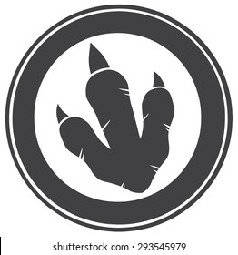 Dinosaur Footprint Circle Label Design. Vector Illustration