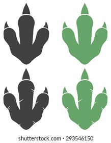 Dinosaur Footprint. Vector Illustration With Text Vector Collection Set