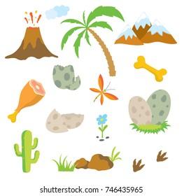 Dinosaur footprint, Volcano, Palm tree, Stones, Eggs, Bone and Cactus.