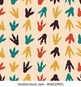 Dinosaur footprints seamless pattern. Background with paw mammal, claw predator. Vector illustration