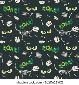 Dinosaur Fossil Bones and Scary Eyes Seamless Pattern Dark Background Vector Illustration