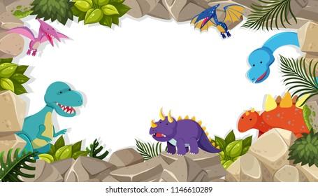 dinosaur frame theme concept illustration