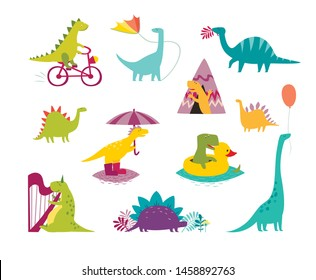 Dinosaur funny set vector illustration. Cute T-rex cartoon style. Dino colorful character isolated on white background