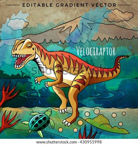 Dinosaur Habitat Vector Illustration Velociraptor Stock Vector