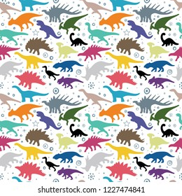 Dinosaur. Hand drawn dinosaurs seamless colorful vector background. Dinosaur sketch drawing illustration.
