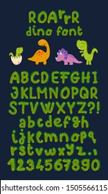 Dinosaur hand drawn vector cartoon alphabet color sticker set. Prickly brightly colored letters on dark blue background. Good for scrap booking, school projects, posters, textiles.
