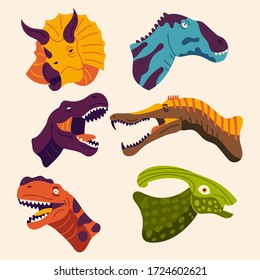dinosaur head collection, with cute colors, suitable for children's books, children's education.