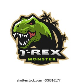 Dinosaur head logo, emblem. T-rex monster.