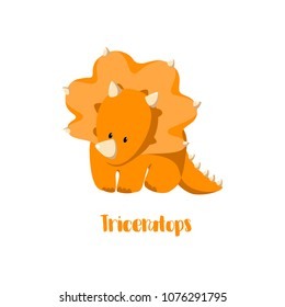 Dinosaur icon (triceratops) in flat style for designing dino party, children holiday, dinosaurus related materials. For card, poster, banner, logo, icon. Jurassic park theme.