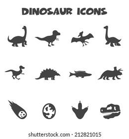 dinosaur icons, mono vector symbols
