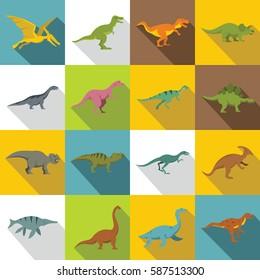 Dinosaur icons set. flat illustration of 16 dinosaur vector icons for web