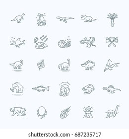Dinosaur icons vector. Dinosaur egg and volcano, dinosaur skeleton and tyrannosaurus icons
