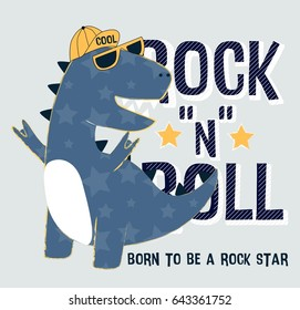 dinosaur illustration vector for print design.