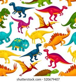 Dinosaur and jurassic animal seamless pattern. Tyrannosaurus, triceratops, stegosaurus, pterodactyl, t-rex, brontosaurus, velociraptor cartoon monster background