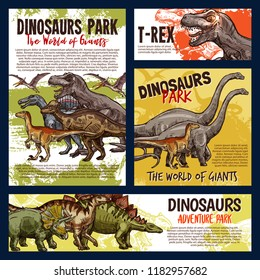 Dinosaur jurassic animal sketch of dino monster adventure park. Tyrannosaurus rex, stegosaurus and pterodactyl, velociraptor, diplodocus and triceratops prehistoric predatory reptile