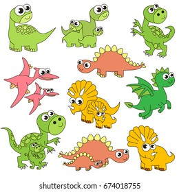 Dinosaur Kids and Mothers elements set, collection of coloring book template, the group of outline digital elements vector illustration, kid game page.