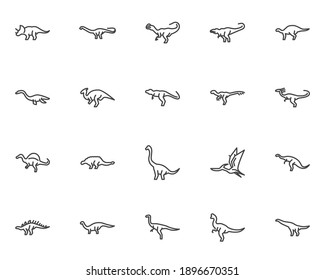 Dinosaur line icons set. linear style symbols collection, outline signs pack. vector graphics. Set includes icons as triceratops dinosaur, tyrannosaurus, spinosaurus, pteranodon pterosaur, stegosaurus