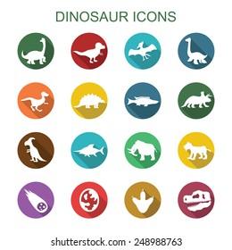 dinosaur long shadow icons, flat vector symbols