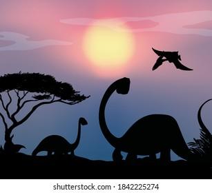 Dinosaur in nature background illustration