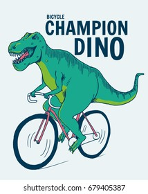 Dinosaur  on bicycle illustration for t-shirt and other uses.