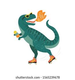 Dinosaur on roller skates with ice cream. Roar. Vector illustration.