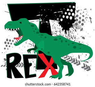 dinosaur on white background, dangerous t-rex, T-shirt design for boys vector illustration. Typography Cute dinosaur  vector graphic print for t-shirt