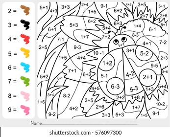 dinosaur painting color by numbers - addition and subtraction worksheet for education