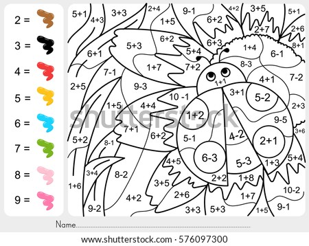 dinosaur painting color by numbers addition のベクター画像素材