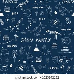 dinosaur party birthday celebration doodle hand drawn vector line seamless pattern