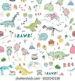 dinosaur party birthday celebration doodle hand drawn vector seamless pattern