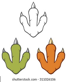 Dinosaur Paw With Claws. Vector Collection Set