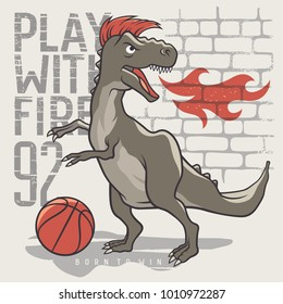 Dinosaur playing basketball. Vector illustration of a tyrannosaur playing a ball. Kids T-shirt graphics on the theme of sport. Inspirational motivational poster