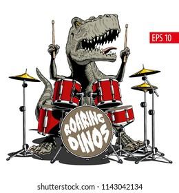 Dinosaur playing drums. Tyrannosaurus or T. rex. Vector illustration.
