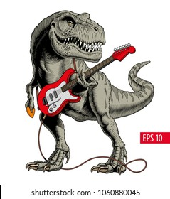 Dinosaur playing electric guitar. Tyrannosaurus or T. rex. Vector illustration.
