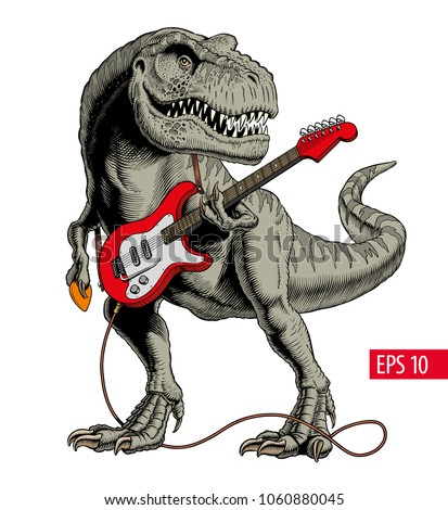 Dinosaur Playing Electric Guitar Tyrannosaurus Or T Rex Vector Illustration